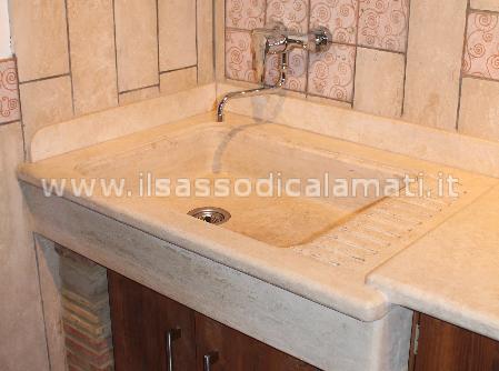 Lavabi e lavelli in marmo su misura vendita on line il sasso di calamati - Lavello cucina in pietra ...