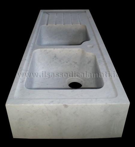 Lavabi da cucina in marmo bianco di Carrara. - Il Sasso di Calamati