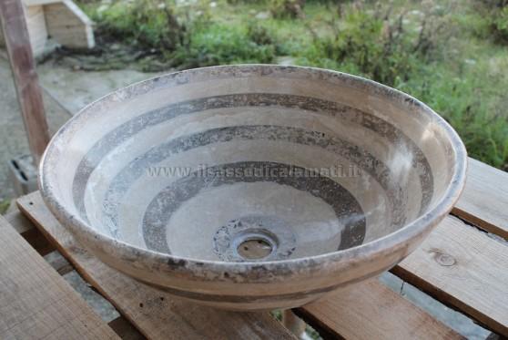 Lavello da appoggio rotondo il sasso di calamati - Lavello per bagno ...