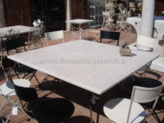 Tavolo in travertino il sasso di calamati - Tavolo in pietra giardino ...