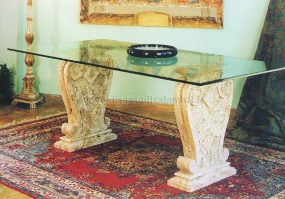 Tavolo Cristallo Con Base Marmo.Tavolo Con Piano In Vetro E Basamento In Marmo Vendita On