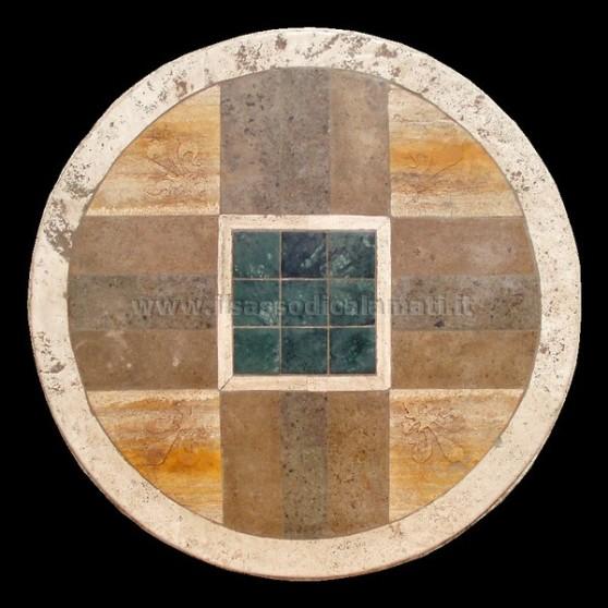 Tavoli artigianali in stile fiorentino il sasso di calamati for Tavolo rotondo mosaico