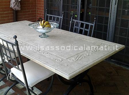 Arredamento giardino in pietra il sasso di calamati - Tavolo in pietra giardino ...