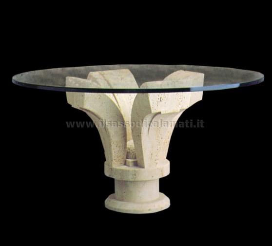 Tavoli In Cristallo Con Base In Pietra.Tavoli Rotondi E Quadrati In Cristallo Con Base In Pietra