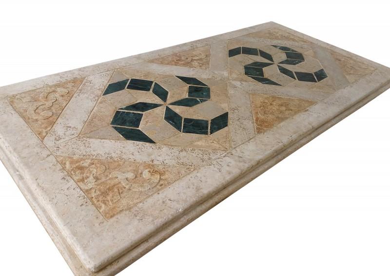 Tavolo Giardino Pietra Cipro : Tavolo a mosaico in travertino e marmo verde vendita